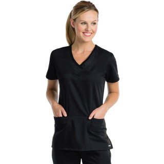 Grey's Active 3 Pocket Tonal Emboss Inset V-Neck Scrub Top