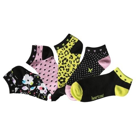 1-5pr Pk of No Show Socks-Heartsoul