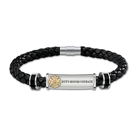 Firefighter Brotherhood Leather Initial Bracelet-Derks Uniforms
