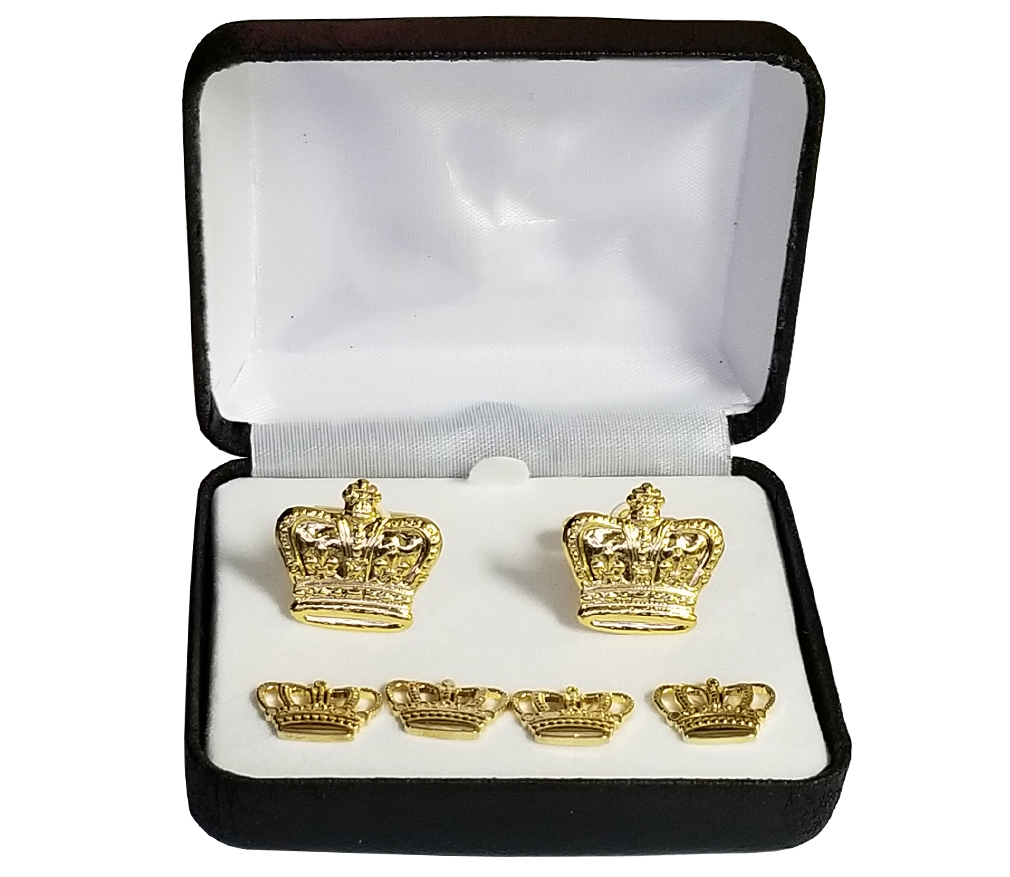 Gold Crown Cufflinks and Pins-Derks Uniforms