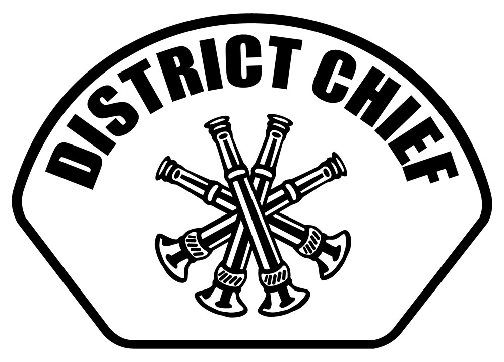 District Chief - Front Helmet Decal-Derks Uniforms