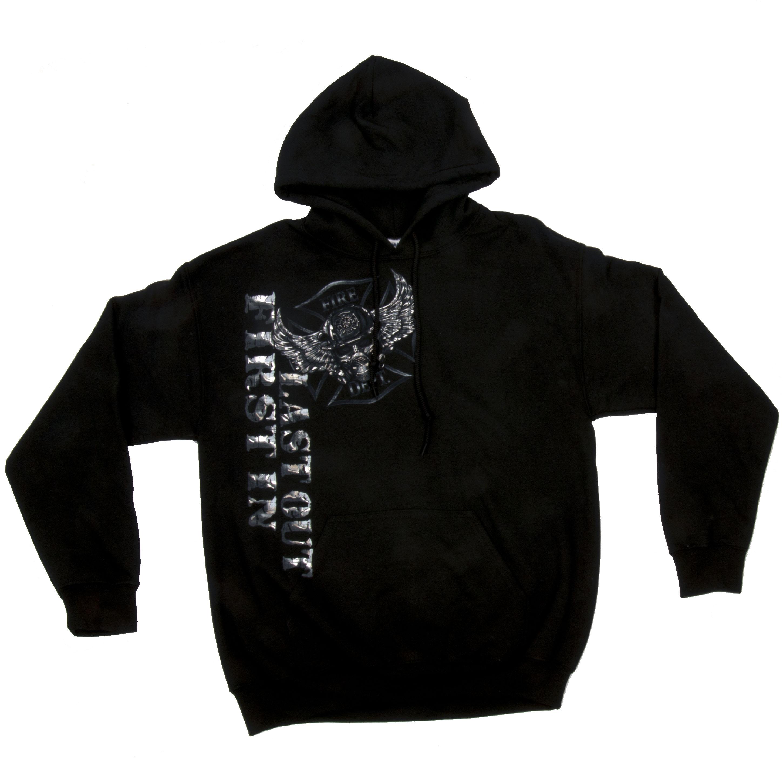 First In Last Out Black Hoodie-Derks Uniforms