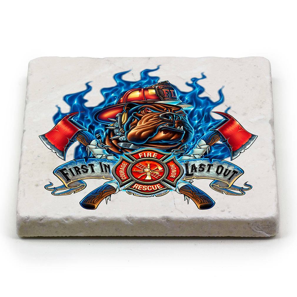 Blue Flame Fire Dog Marble Coaster-Derks Uniforms