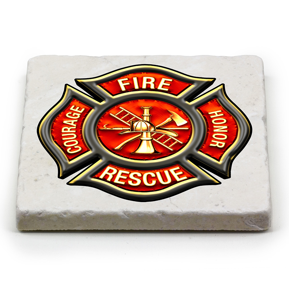 Fire Rescue Maltese Cross Marble Coaster-