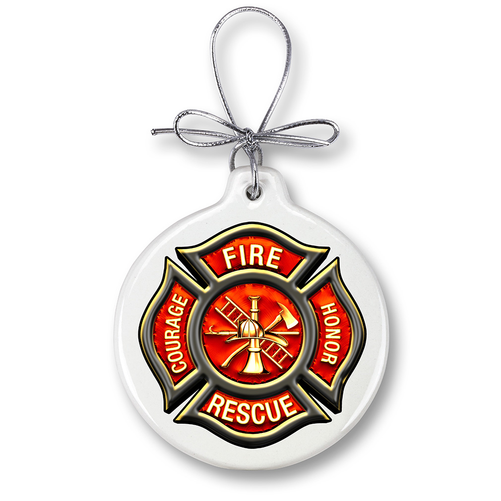 Courage Honor Fire Rescue Holiday Ornament-Derks Uniforms