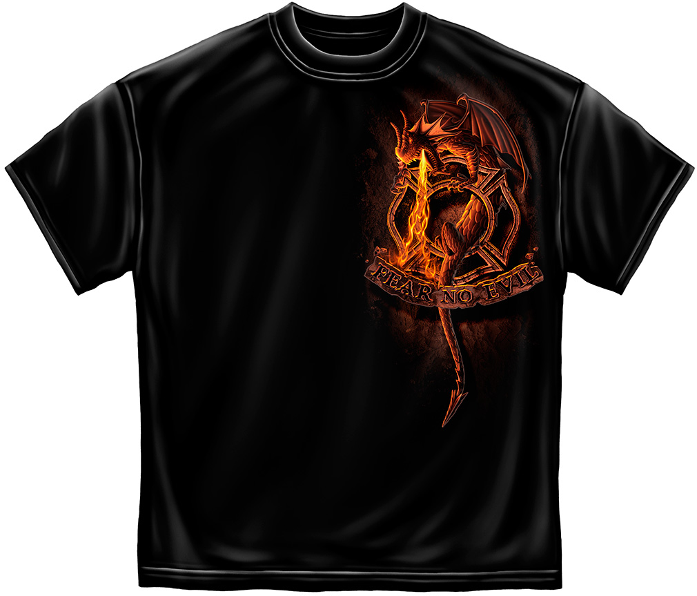 Fire Dept. Fear No Evil Dragon T-Shirt-Derks Uniforms