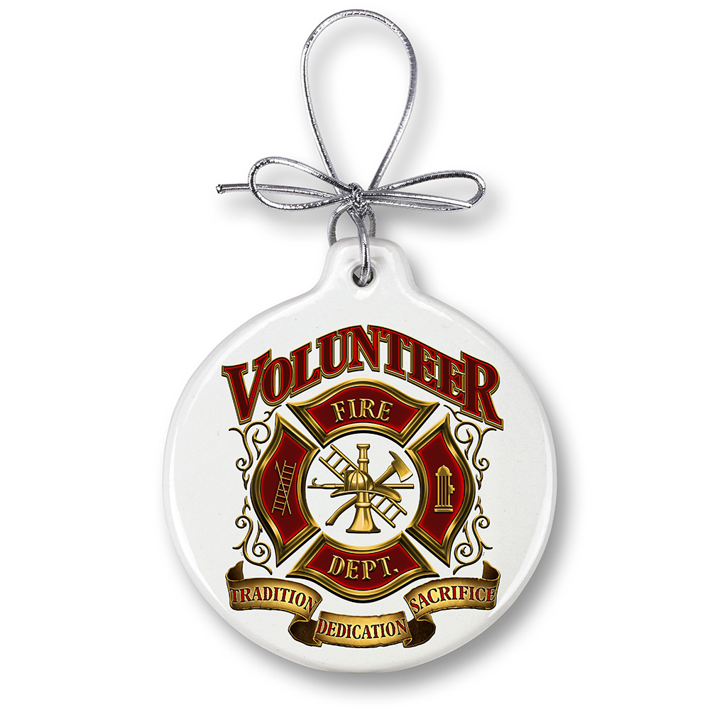 Volunteer Fire Fighter Crest Holiday Ornament-