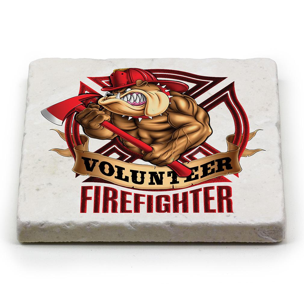 Volunteer Fire Dog Marble Coaster-