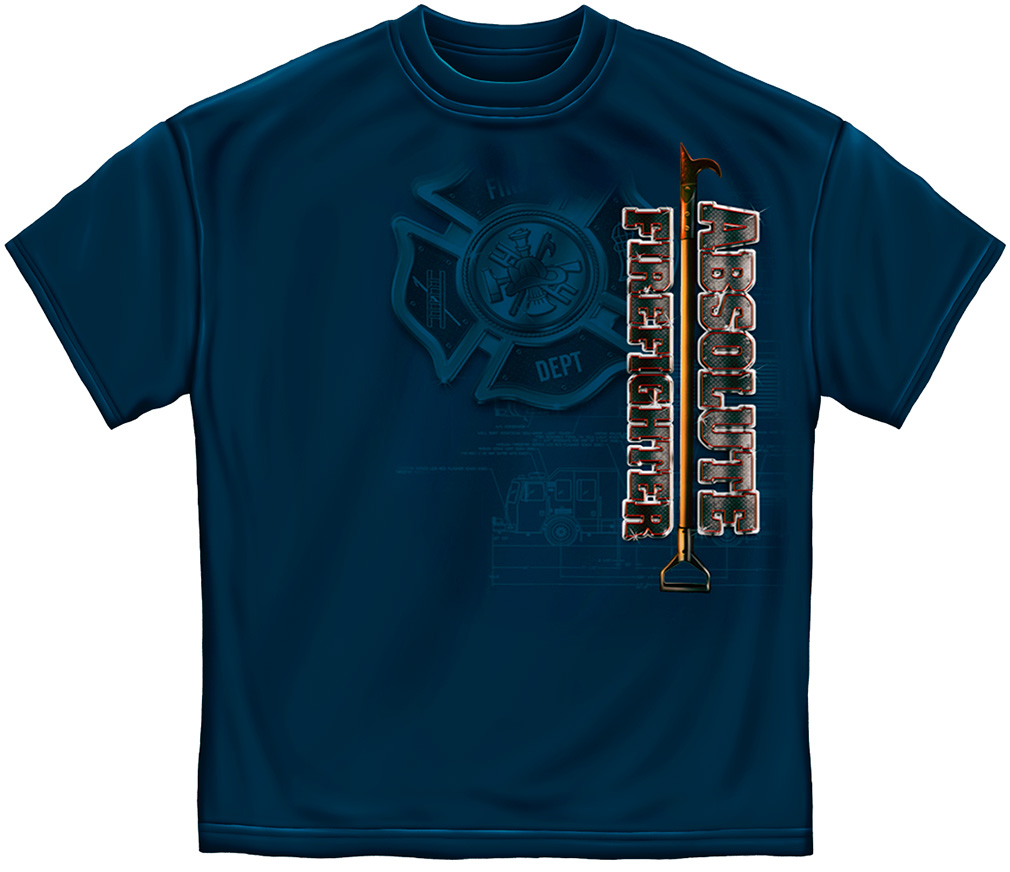 Absolute Firefighter Blue T-Shirt-Derks Uniforms
