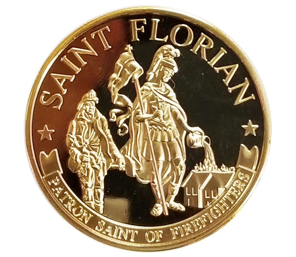 Saint Florian Challenge Coin-Derks Uniforms