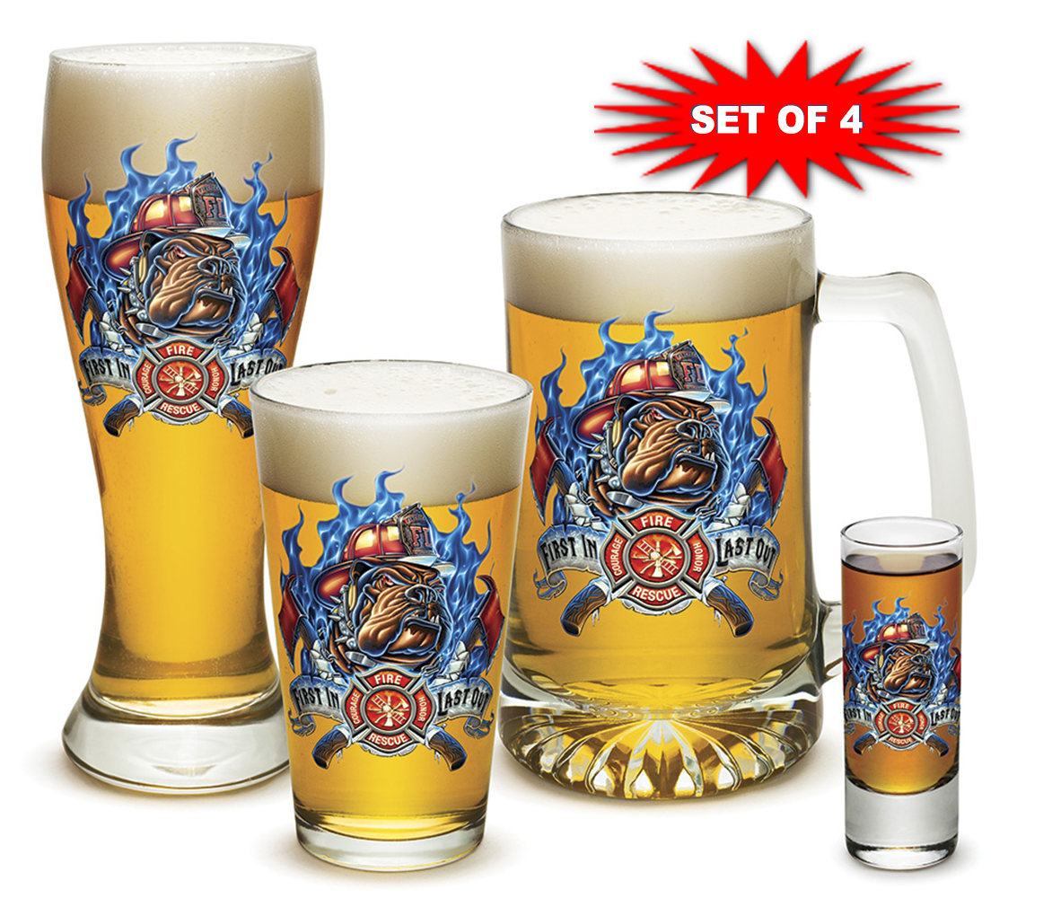 First In Last Out Fire Dog Glass Set-Derks Uniforms