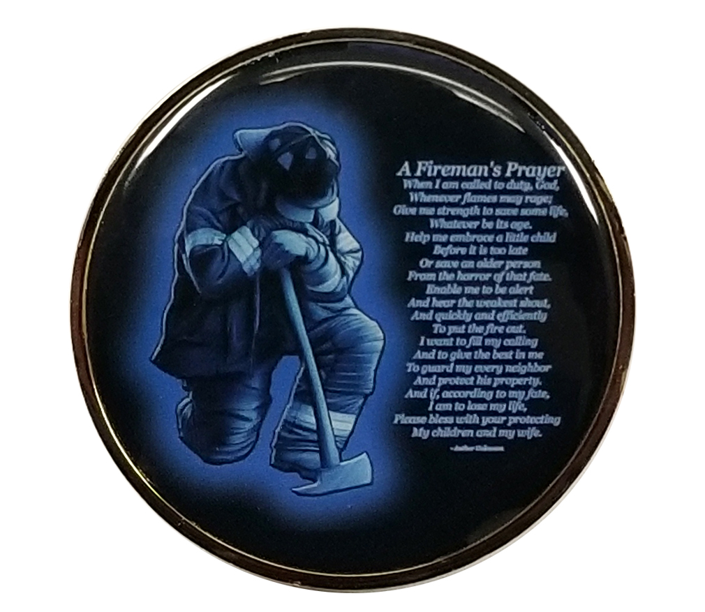 Firefighters Prayer Challenge Coin-Derks Uniforms