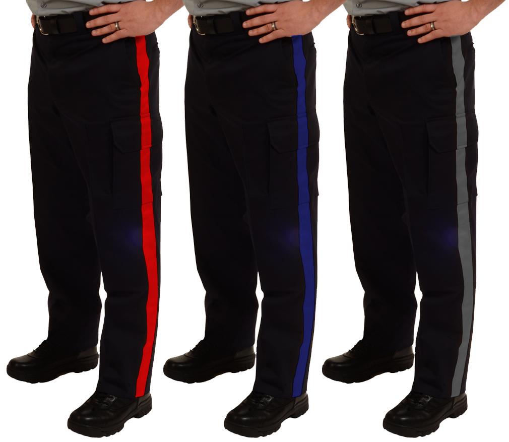Striped Duty Flex Waist Pants with Cargo Pockets-