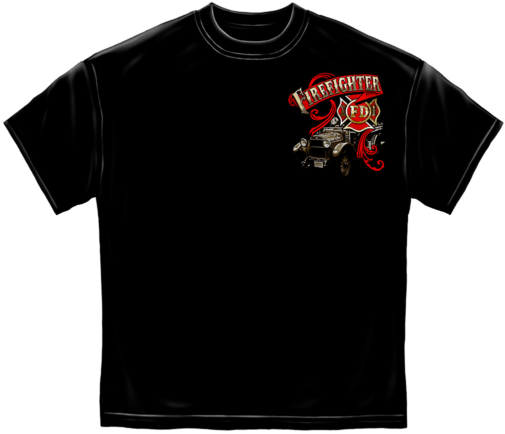 Antique Fire Engine T-Shirt-Derks Uniforms