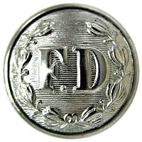 FD Large Silver Button-Derks Uniforms