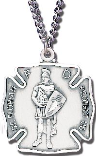 "1"" LG ST. FLORIAN MEDAL W/CHAIN-Blackinton Insignia and Recognition"