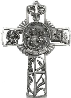 "5"" CROSS W/ST MICHAEL CTR"