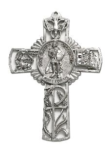 "5"" CROSS W/ST FLORIAN CTR-Blackinton Insignia and Recognition"