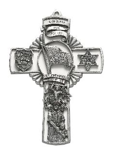 "5"" Cross w/Flag/ST. Michael-"