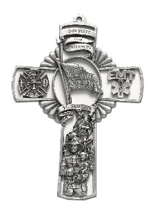 "5"" CROSS W/FLAG/ST. FLORIAN-Blackinton Insignia and Recognition"