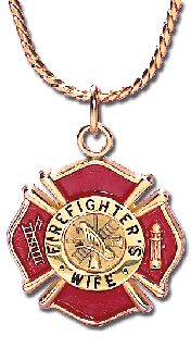 "7/8"" FIREFIGHTER'S WIFE CHARM WITH CHAIN-"