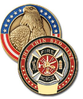 1 3/4 Thin Red Line Modeled Coin-Blackinton Insignia and Recognition