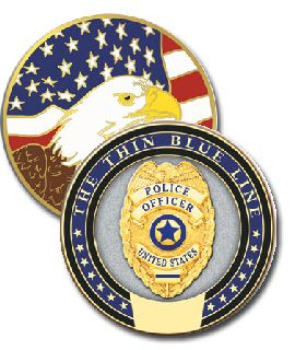 "1 3/4"" Thin Blue Line Coin"