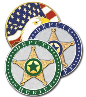 "1 3/4"" Sheriffs Coin Green-"
