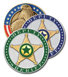 "1 3/4"" Sheriffs Modeled Coin Green-Blackinton Insignia and Recognition"
