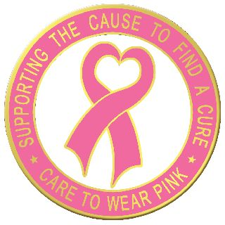 "15/16"" Heart Ribbon With Supporting The CaUSe To Find A Cure & Care To Wear Pink-Blackinton Insignia and Recognition"