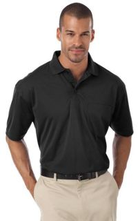 ADULT IL-50 POCKETED POLO - BLACK 2 EXTRA LARGE SOLID-