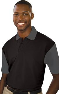 MENS IL-50 COLOR BLOCK POLO - BLACK 2 EXTRA LARGE SOLID-
