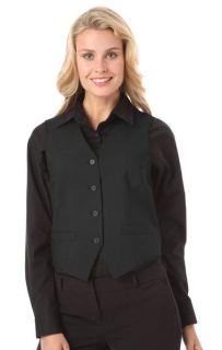 LADIES TEFLON TWILL VEST - BLACK 2 EXTRA LARGE SOLID-