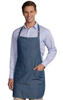 Bib Apron Denim Vintage Blue One Size Waist Solid-
