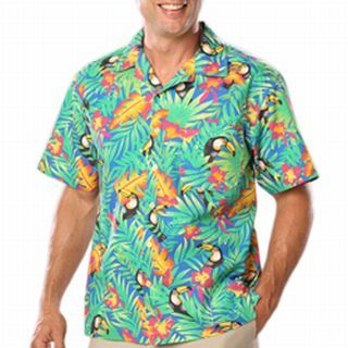 UNISEX TROPICAL PRINT CAMPSHIRT - TUCAN PRINT 2 EXTRA LARGE PRINT-Blue Generation