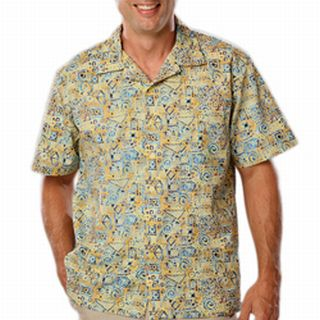 Adult Tucan Print Camp Shirt-Blue Generation