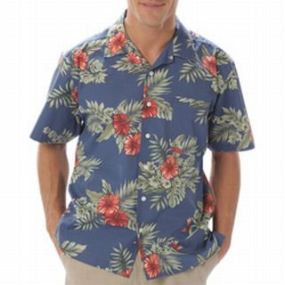 Adult Floral Print Camp Shirt-Blue Generation
