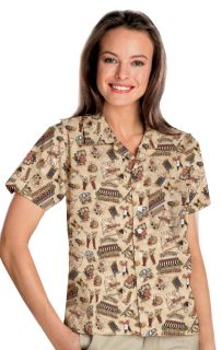 UNISEX TROPICAL PRINT CAMPSHIRT - BISTRO 2 EXTRA LARGE PRINT-Blue Generation