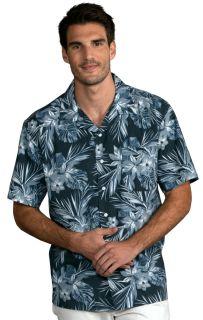 Unisex Tropical Print Campshirt Indigo Breeze Print-