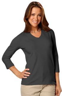 Ladies 3/4 Sleeve V-Neck Tee-Blue Generation