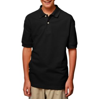 YOUTH SHORT SLEEVE SUPERBLEND PIQUE - BLACK LARGE SOLID-Blue Generation