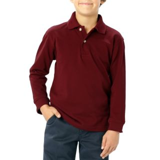 YOUTH LONG SLEEVE SUPERBLEND PIQUE - BURGUNDY LARGE SOLID-