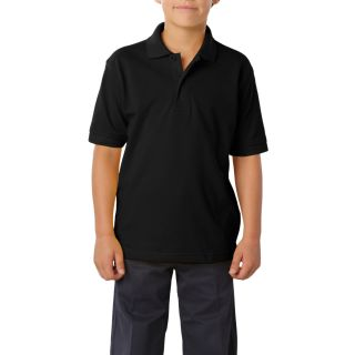 YOUTH SOFT TOUCH PIQUE POLO - BLACK LARGE SOLID-
