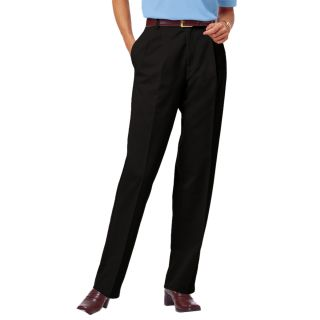 LADIES PLEATED FRONT TEFLON TREATED TWILL PANTS - BLACK LENGTH 28 WAIST 2-