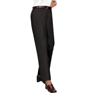 LADIES FLAT FRONT TEFLON TREATED TWILL PANTS - BLACK LENGTH 28 WAIST 2-Blue Generation