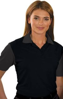 LADIES IL-50 COLOR BLOCK POLO - BLACK 2 EXTRA LARGE SOLID-