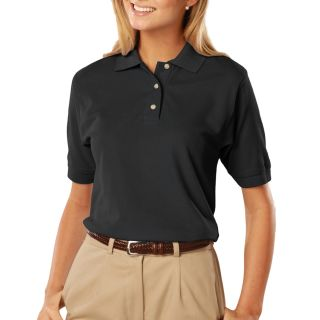 LADIES SHORT SLEEVE 100% COTTON PIQUE POLO - BLACK 2 EXTRA LARGE SOLID-Blue Generation