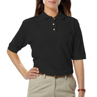 LADIES SHORT SLEEVE TEFLON TREATED PIQUES NO POCKET - BLACK 2 EXTRA LARGE SOLID-