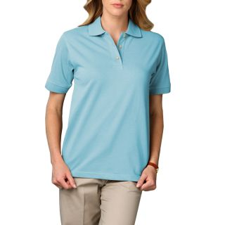 LADIES SHORT SLEEVE SUPERBLEND PIQUE - AQUA 2 EXTRA LARGE SOLID-