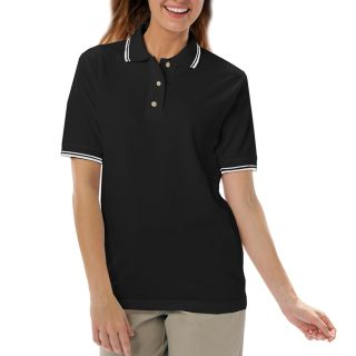 LADIES SHORT SLEEVE TIPPED COLLAR & CUFF PIQUES - BLACK 2 EXTRA LARGE TIPPED WHITE-